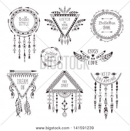 Hand Drawn Boho Style Frames and Decorations. Set of Fashion Ethnic Designs with motivate Slogan for T-shirt, Tattoo and Card.