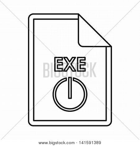 EXE extension text file icon in outline style isolated on white background