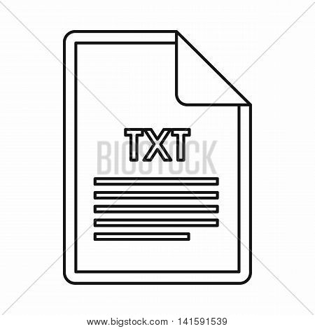 TXT file format icon in outline style isolated on white background