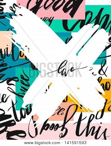Hand drawn vector abstract brush textured template card on modern background with diferent words and big white cross with word love.Handwritten lettering.Universal unusual holiday card.