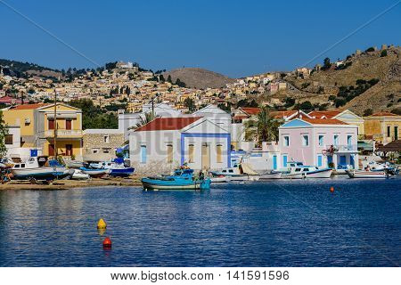 The picturesque Greek village of Pedi with traditional architecture, Symi island, Dodecanese, Greece.