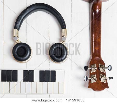 Blank page and instruments for music writing.