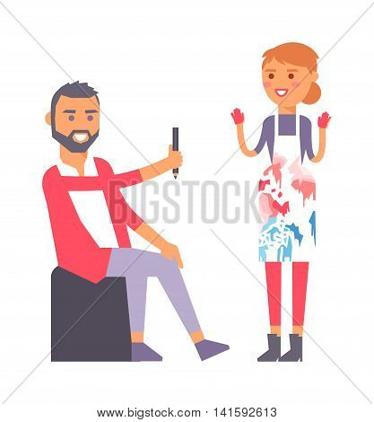 Young artist creative people in studio during pain work. Portrait drawing artist creative people vector. Colorful adult painter artist designer creative people with paintbrush.