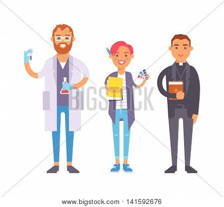People professions qualification, employment and success concept. Happy different people professions over group of professional workers. People professions occupation job man worker.