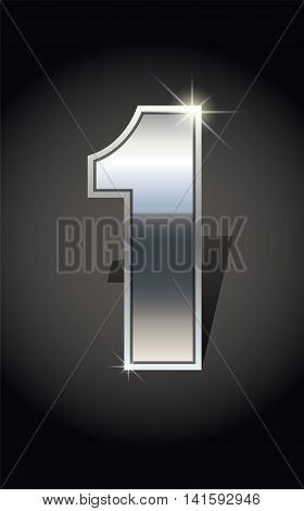 Silver number one on dark background isolated. Silver alphabet. Vector illustration number one for Silver best choice design. Number one icon. Vector illustration stock vector.