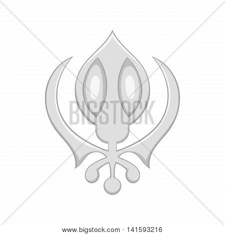 Sikhism symbol icon in cartoon style on a white background