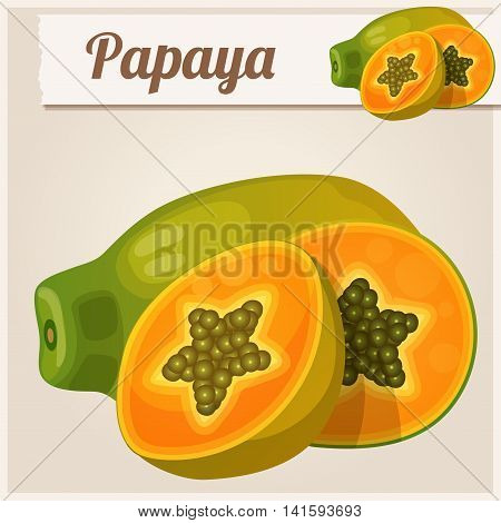Papaya fruit. Cartoon vector icon. Series of food and drink and ingredients for cooking.