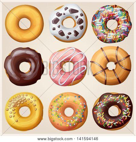 Set of cartoon donuts. Sweets food vector illustration
