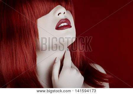 Woman With Red Wig And Pale White Doll Look Type Skin