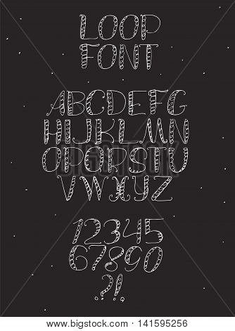 Freehand hand drawn white font with english letters from a to z numbers from 0 to 9. Alphabet sequence drawn with dots strokes and lines in freehand style. Vector illustration isolated on black.