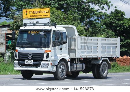 CHIANGMAI THAILAND -JULY 27 2016: Private Foton Auman Dump Truck. Foton is Product of China. On road no.1001 8 km from Chiangmai Business Area.