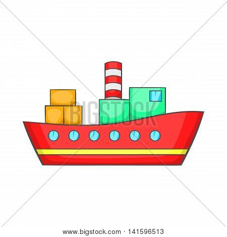 Red cargo ship icon in cartoon style on a white background