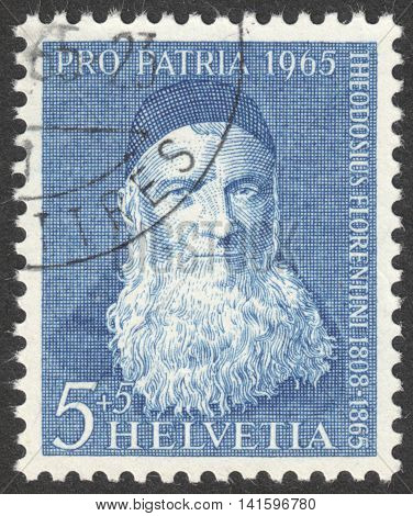 MOSCOW RUSSIA - CIRCA MAY 2016: a post stamp printed in SWITZERLAND shows a portrait of father Theodosius Florentini the series