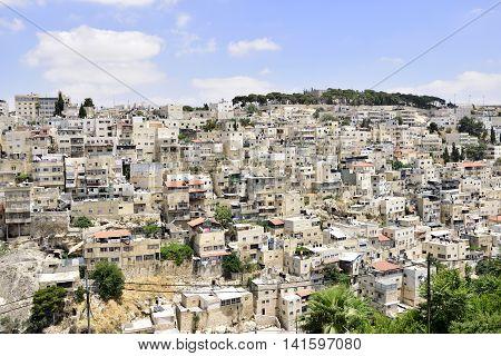 Muslim district of Silwan in East Jerusalem Israel.