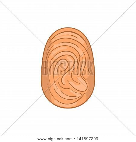 Fingerprint icon in cartoon style on a white background