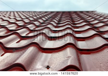 wet red metal roofing from sheet metal with droplets of rain closeup