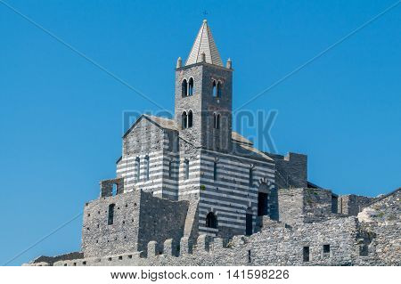 St Peter church on top of a cliff in Portovenere. Italy. Cinque Terre.