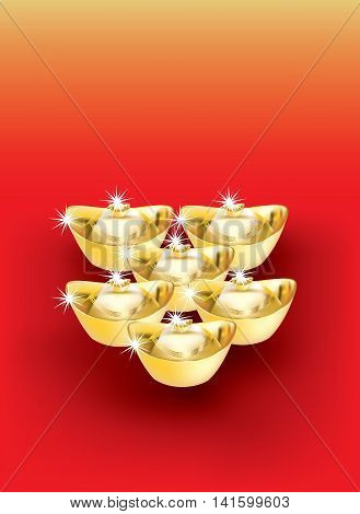 Chinese New Year golden ingots ornament on gradient background