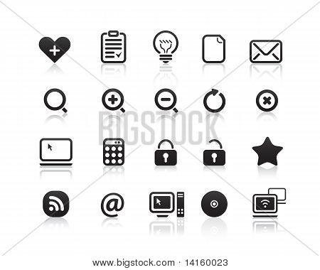 Black mini mono icons set