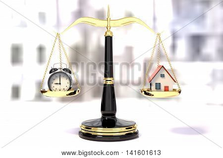 3D rendering of an alarm clock and a house on a golden law scales time efficiency concept