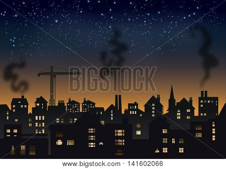 Smoky town skyline on a starry night.