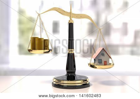 3D rendering of classic scales of justice with stacks of coins and a house unbalance scale