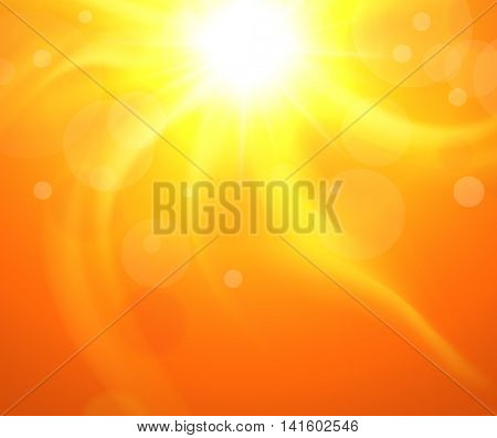 Orange background with glaring sun, vector sunny illustration.