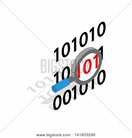 Binary code and magnifying glass icon in isometric 3d style on a white background
