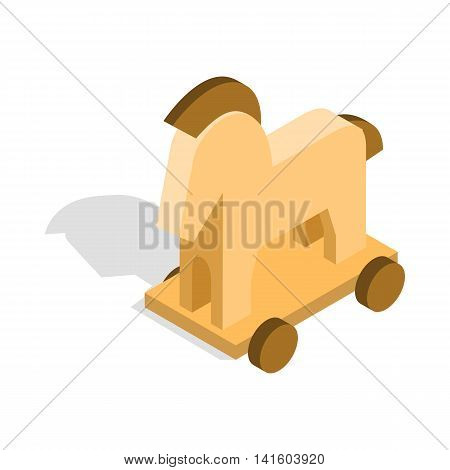 Horse trojan icon in isometric 3d style on a white background
