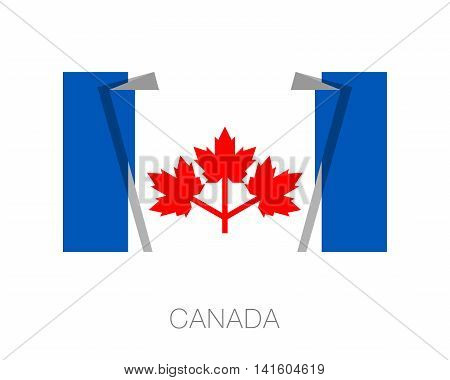 The Canadian Pearson Pennant. Flat Icon Wavering Flag With Count
