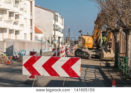 Excavating Machine In Roadworks