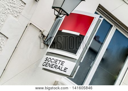 Saint Gilles Croix de Vie France - April 5 2016 : Societe Generale agency while the headquarter is covered by Luxembourg in the case