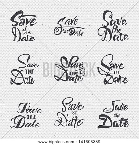 Save the date - calligraphic lettering badge label for design invitation, with texture mapping imitation foil