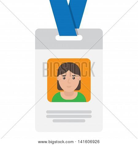User id card with female photo. Business conference concept. Id card for businessman. Simple vector flat illustration