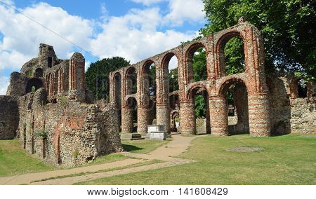 COLCHESTER, ESSEX, ENGLAND - AUGUST 06, 2016: The remains of St. Botolph's Priory a Medieval Augustinian religious house in Colchester.