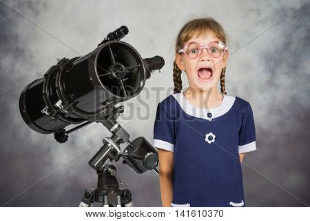 Girl Astronomer Happily Surprised By What He Saw In The Telescope