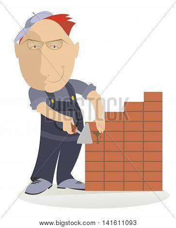 Bricklayer. Smiling bricklayer makes the brickwork illustration
