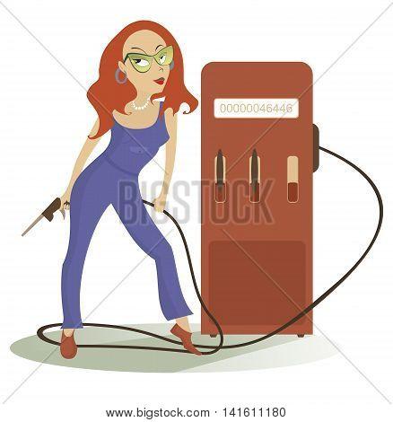 Petrol station. Cartoon sexy girl at the petrol station