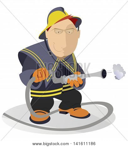 Fireman. Smiling fireman with fire hose illustration