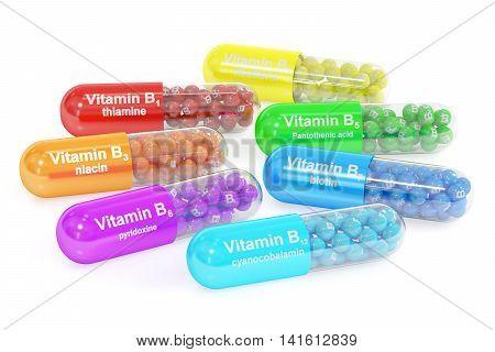 Set of vitamin capsules B1 B2 B3 B5 B6 B7 B12. 3D rendering isolated on white background
