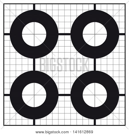 Sight-In circle shaped calibration shooting target. Professional. Size 54 x 54 cm, ready for print. 1 color (Black).
