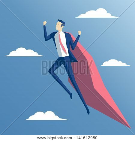 cheerful businessman superhero flying among the clouds employee super hero flying in the sky business concept strength and skill