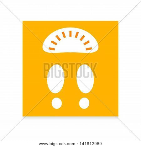 Flat colored design vector illustration with quadrate yellow web app icon scales footprint white contour light background. Long shadow design.