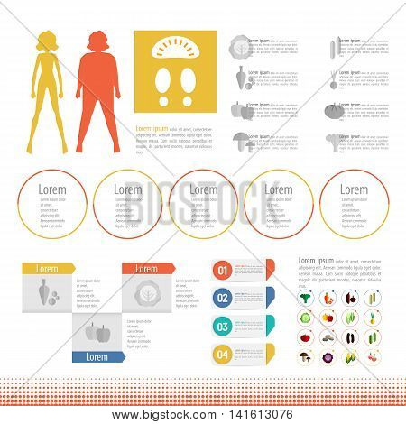 Body mass index poster. Healthy Lifestyle info-graphic. Healthy diet vector. Female weight-stages weight loss illustration. Thick slim body set icon info graphic