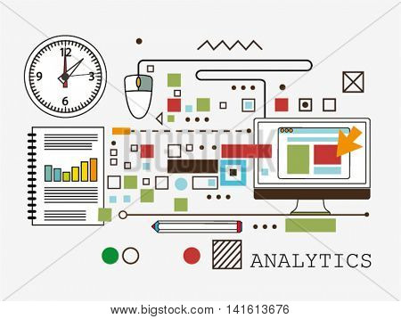 Analytics. line flat vector illustration on background