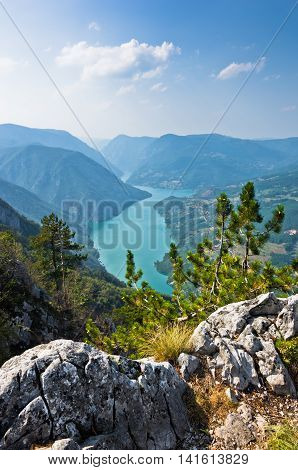 Viewpoint Banjska rock at Tara mountain looking down to Canyon of Drina river, west Serbia