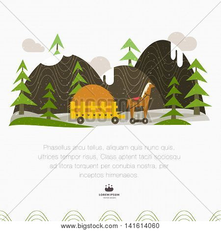 Snow-capped mountains trees and cart with hay. Vintage illustration in folk art style. Vector