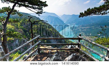 Viewpoint Banjska rock at Tara mountain looking down to Canyon of Drina river, west Serbia