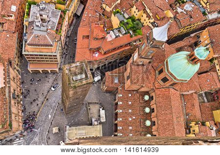 Aerial cityscape view from