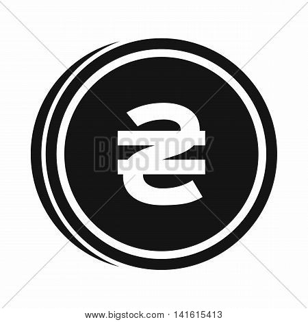 Coin hryvnia icon in simple style isolated on white background. Monetary currency symbol